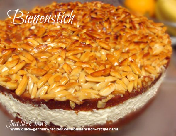 German Cake Recipe: Bienenstich ... Bee Sting Cake