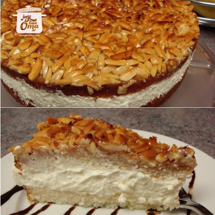 Bienenstich cake and a piece, filled with whipped cream
