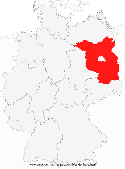 Map of Germany showing Brandenburg