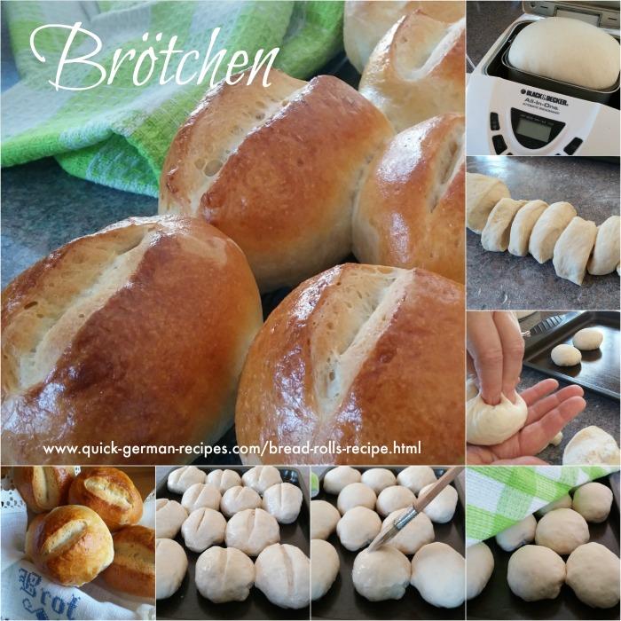 German Bread Rolls Collage of how to make Brötchen