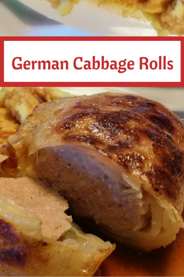 Oma's Cabbage Roll recipe served with green salad, mashed potatoes and gravy