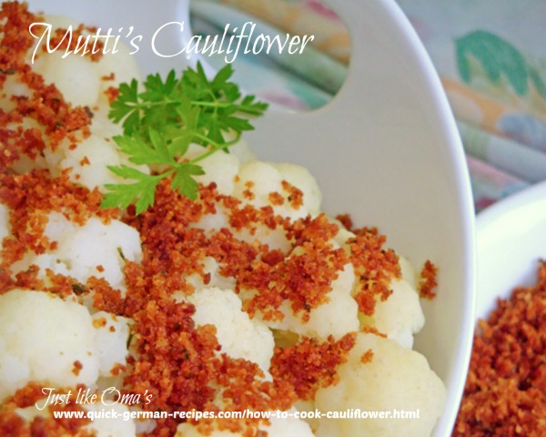 Cauliflower - topped with buttered bread crumbs
