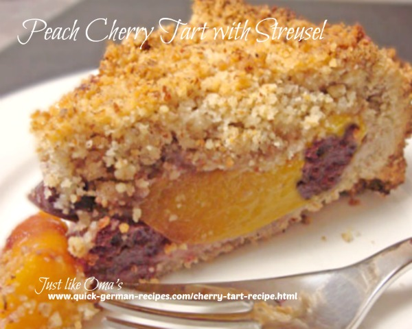 Cherry Tart with Peaches - covered with delicious streusel