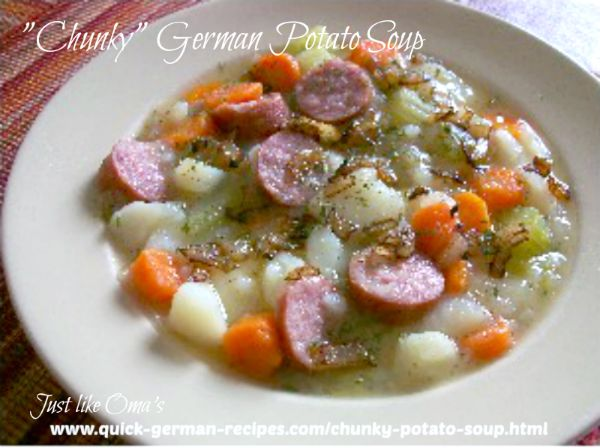 white bowl filled with steaming hot German potato soup