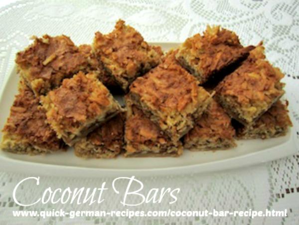 German Cookie Recipes: Coconut Bar Recipe with Pecans