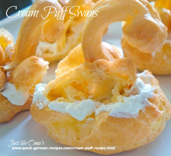 Make these cream puff swans using the same easy recipe for regular traditional cream puffs, made just like Oma.