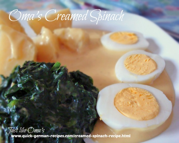German traditional foods: Creamed Spinach