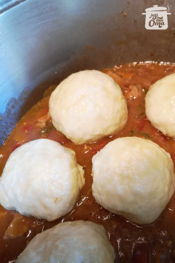 Serving leftover Dampfnudeln (German Steamed Buns or Dumplings) with goulash. They surely bring back memories of Oma's kitchen. #dampfnudeln #steamed buns #germanfood #justlikeoma