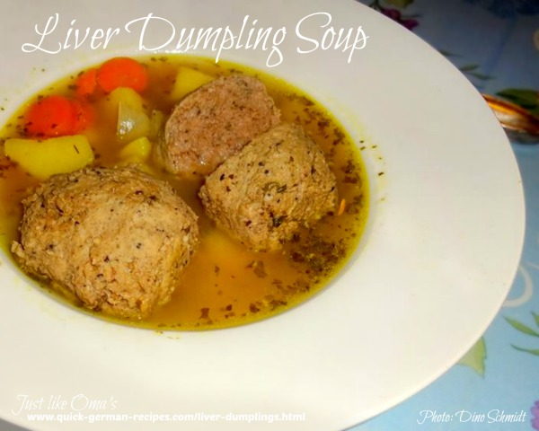 Soup with liver dumplings, aka Leberknödel Suppe,