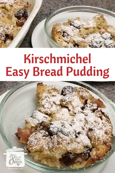 Kirschenmichel (easy bread pudding with cherries) served with dusting of powdered sugar