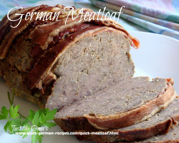 German Meatloaf wrapped in bacon
