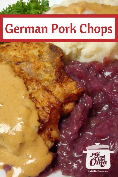 German Pork Chops served with mashed potatoes, red cabbage and mustard sauce
