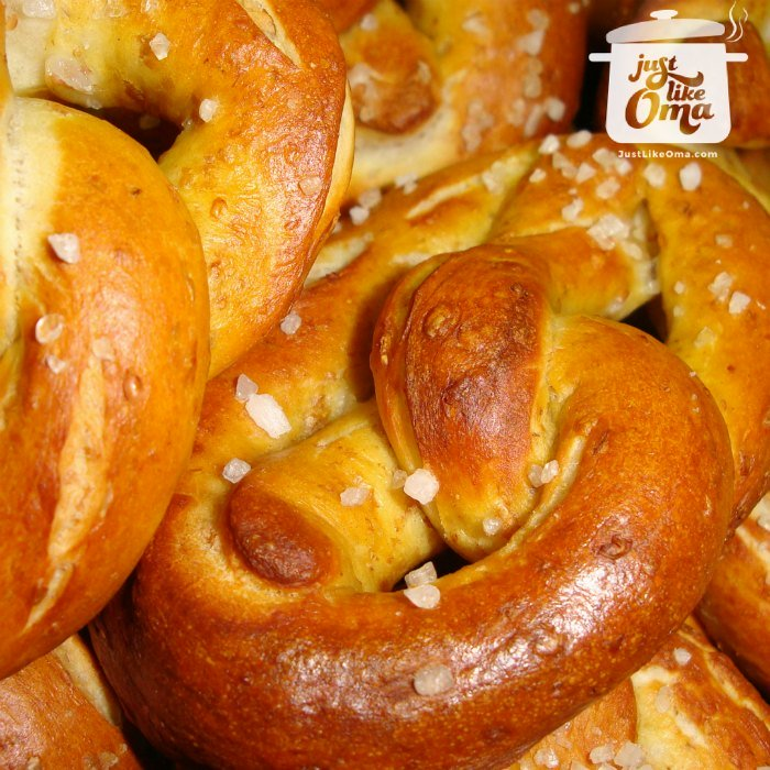 A pile of freshly baked German Pretzels