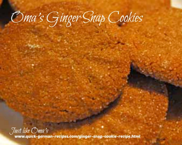 Oma's Ginger Snap Cookies Recipe