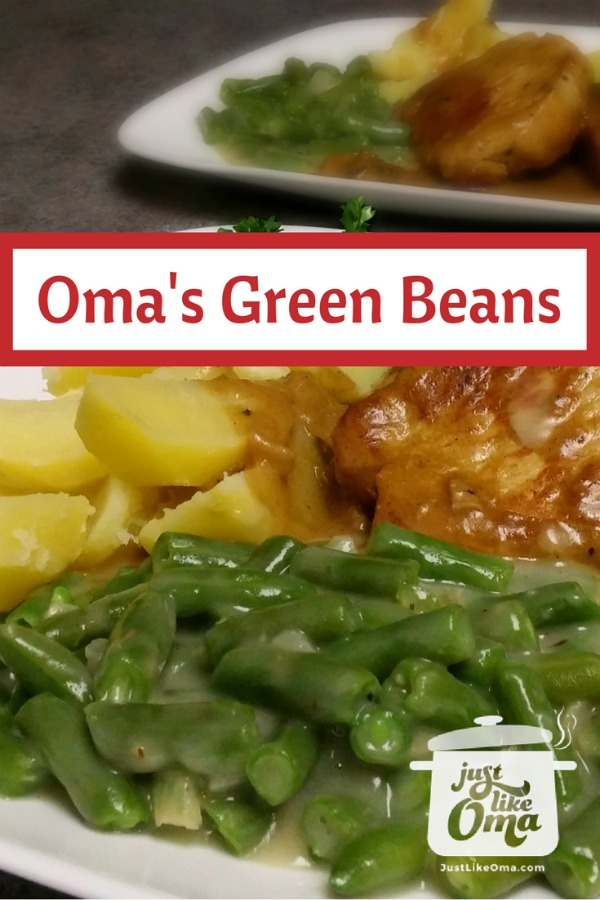 Creamy green beans served with pork, potatoes, and gravy.