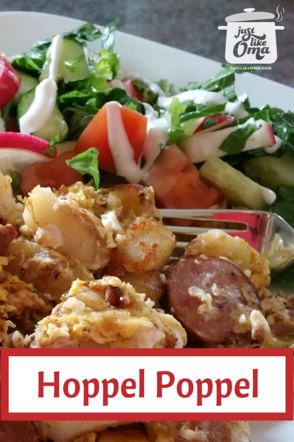 plate of hoppel poppel with green salad