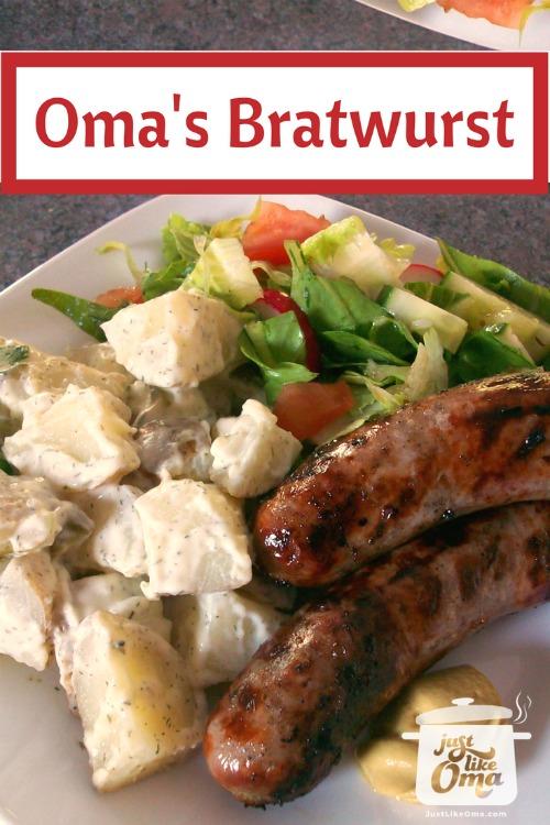 plate with bratwurst, German potato salad and tossed salad