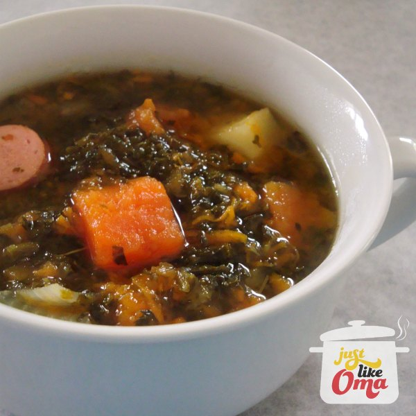 Delicious and healthy Kale and Sausage soup. So easy and quick to make.