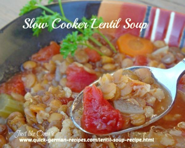 German Food Recipe: slow cooker lentil soup