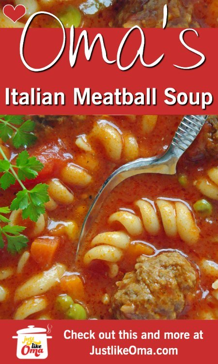❤️ Italian Meatball Soup is such an easy crowd pleaser.  https://www.quick-german-recipes.com/italian-meatball-soup.html #meatballs #germanrecipe #justlikeoma