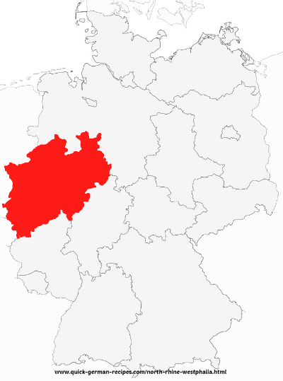Map of Germany showing North Rhine­Westphalia