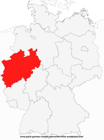 Map of Germany showing North RhineWestphalia