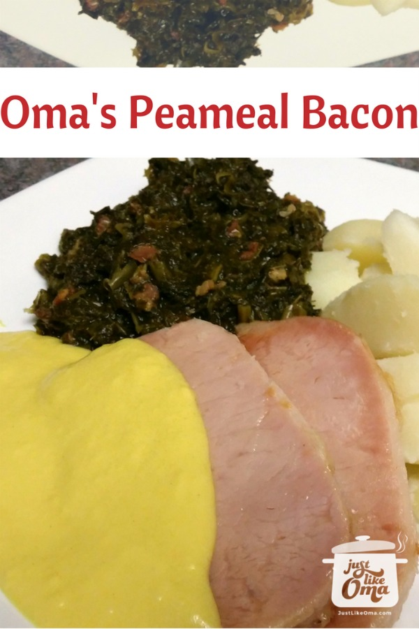 Canadian Peameal Bacon served with German mustard sauce, kale, and boiled potatoes