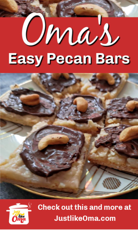 ❤️ Pecan or Almond Bars with chocolate.  Recipe: https://www.quick-german-recipes.com/pecan-bar-recipe.html #pecanbars #christmascookies #justlikeoma #germanfood