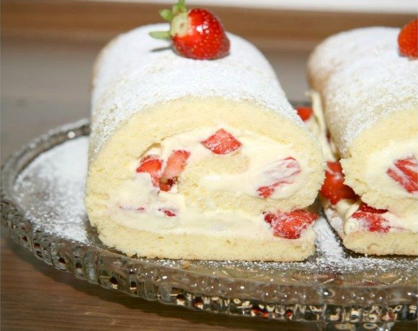 Cream Roll - filled with whipped cream and fruit