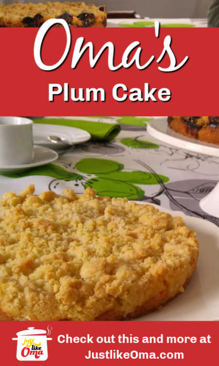 ❤️ Yummy Plum Streusel Cake ... just like Oma made, with a super easy recipe. Check it out at https://www.quick-german-recipes.com/plum-cake-recipe.html #plumcake #streusel #justlikeoma #germanrecipes