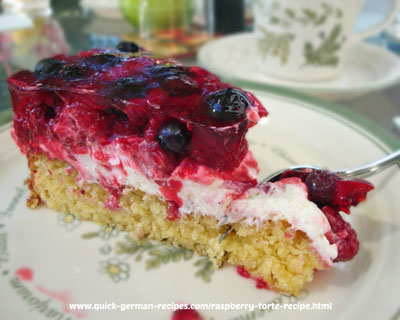Heidi's raspberry and blueberry torte!