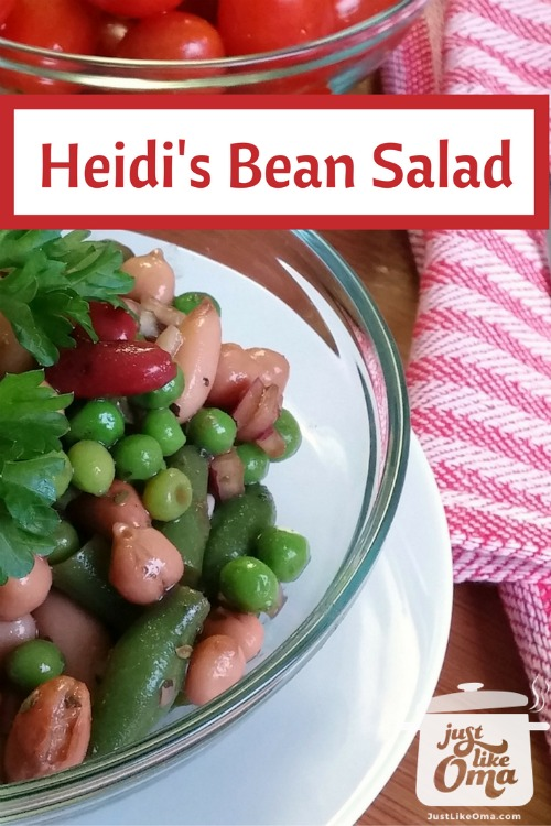 bowl of bean salad with cherry tomatoes