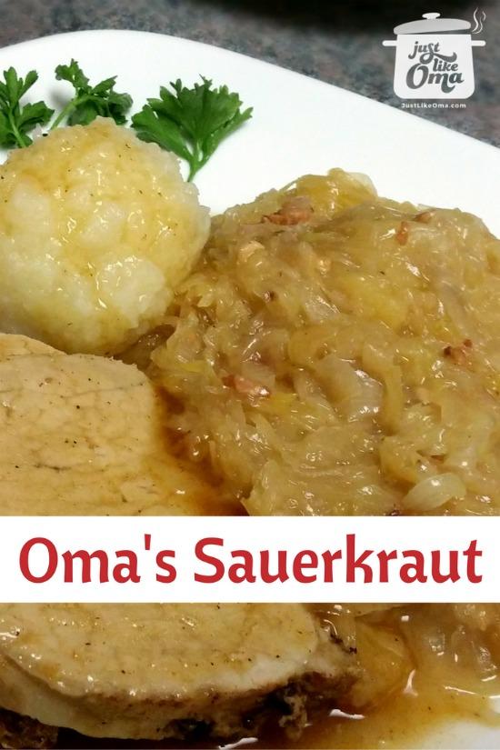 Plate with sauerkraut, potato dumplings, and pork roast