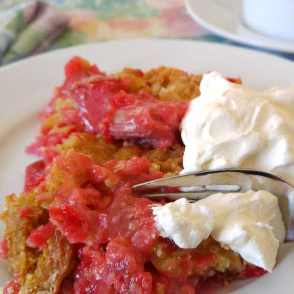 ❤️ Rhubarb Dump Cake  ... perfect springtime treat  ... perfect to finish off a German meal.