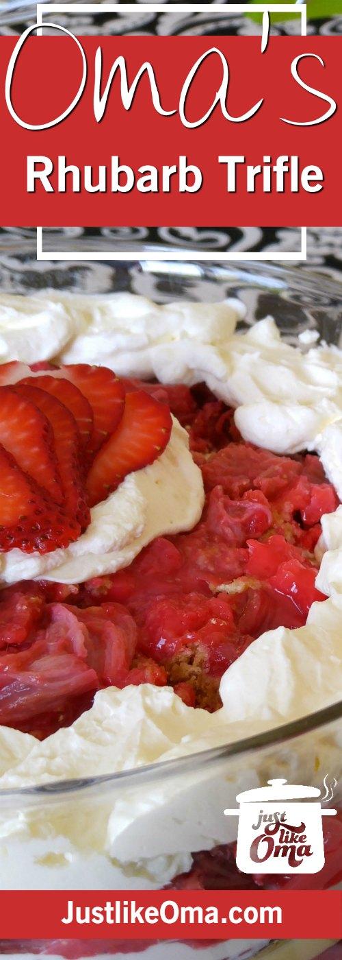 Rhubarb Dump Cake Trifle ❤️ ... perfect springtime treat using a Rhubarb Dump Cake! #dumpcake #germanrecipes #justlikeoma https://www.quick-german-recipes.com/rhubarb-dump-cake.html