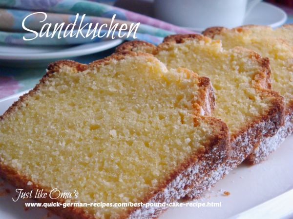 Slices of German Sandkuchen dusted with powdered sugar