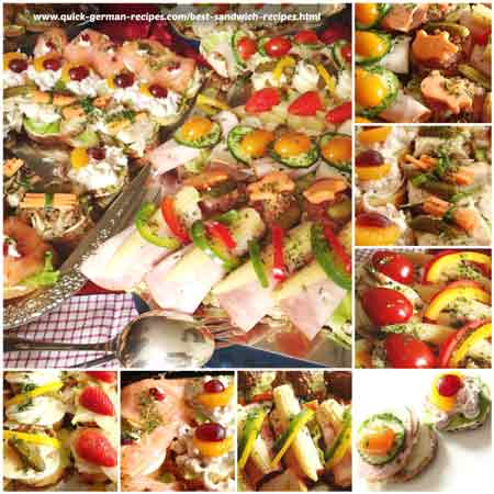 Variety of German sandwich appetizers