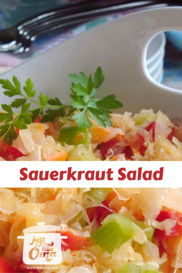 White bowl with sauerkraut salad with peppers