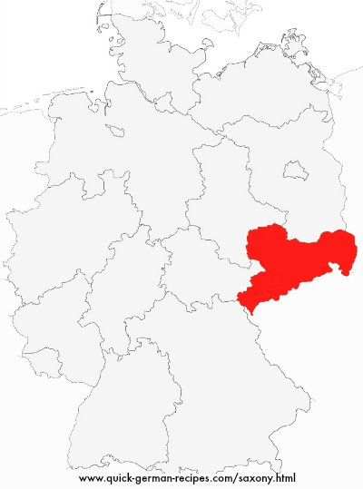 Map of Germany showing Saxony