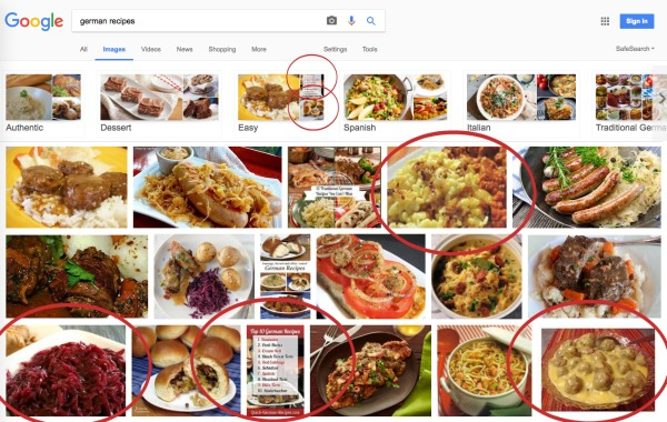 SBI! review screenshot showing google search fpr images results for my website