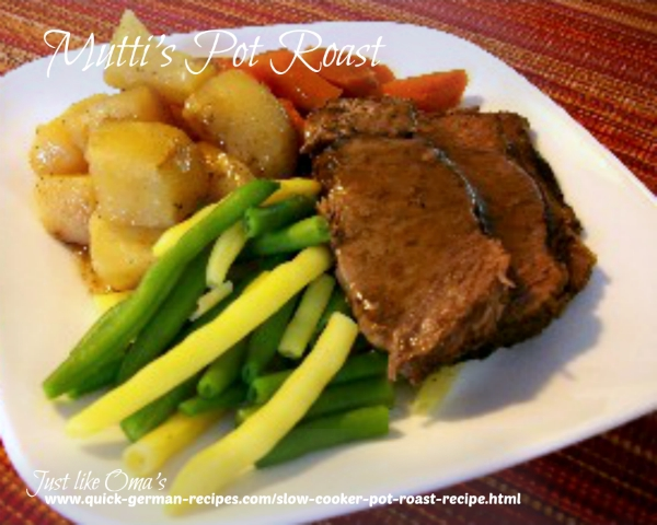 Pot Roast in Slow Cooker made just like Oma ❤️https://www.quick-german-recipes.com/slow-cooker-pot-roast-recipe.html