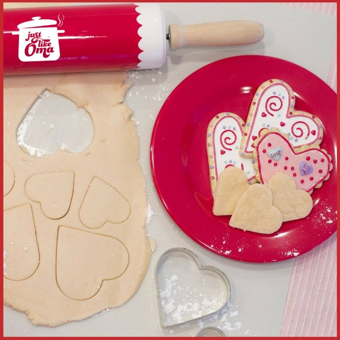 Heart shaped sugar cookie cutouts