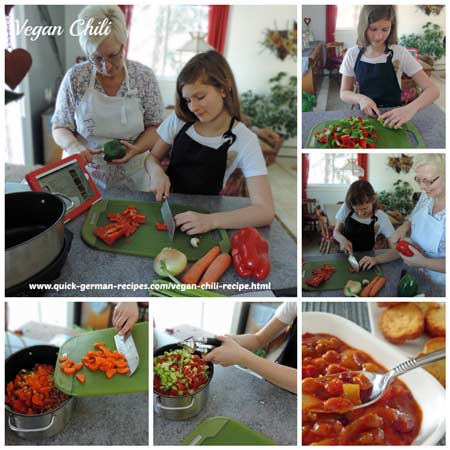 making vegan chili