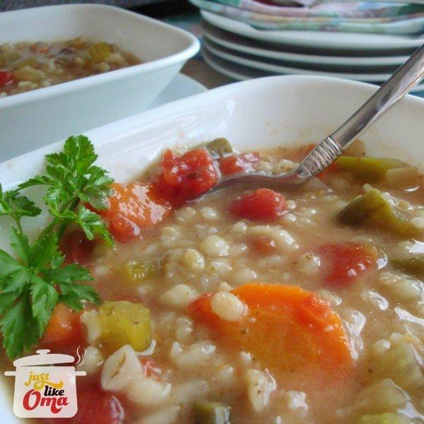 Vegetarian Barley Soup made Just like Oma