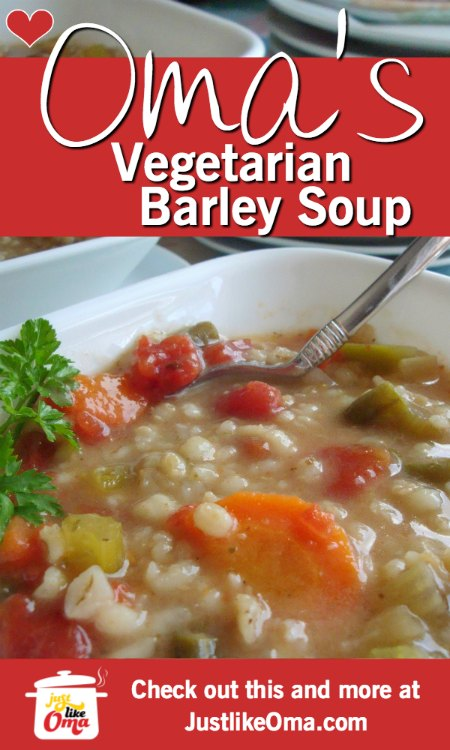❤️ Vegetarian Barley Soup using the slow cooker (and it's vegan!) https://www.quick-german-recipes.com/vegetarian-barley-soup.html #vegansoup #germanrecipe #justlikeoma