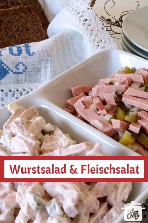 ❤️ German Meat Salad comes in two types. One with mayo and one without.  Check it out at https://www.quick-german-recipes.com/Wurstsalat.html #meatsalad #germanrecipe #justlikeoma